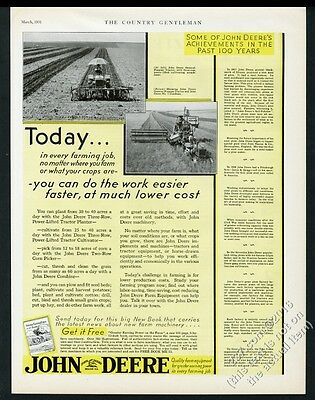 1931 John Deere farm tractor combine and cultivator photo vintage print ad