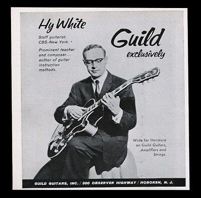 1958 Hy White photo Guild electric guitar vintage print ad
