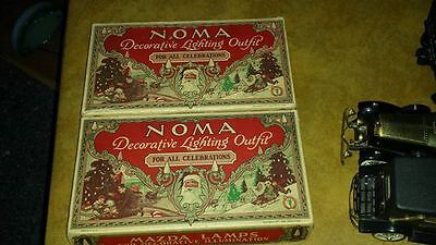 3 Sets Vtg Noma Mazda Lamps 1927 Santa Sled Illustration Christmas String Lights