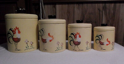 Vintage RANSBURG 4pc Canister Set-Yellow w/Hand Painted Roosters