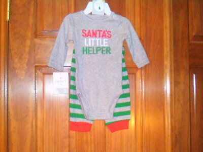 Unisex Carter's Santa's Little Helper Outfit, Size 3 Months, Gray/Red/Green, NWT