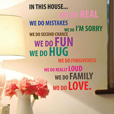 This House Family Love Self Adhesive Art Wall Quote Stickers Words Lettering 33