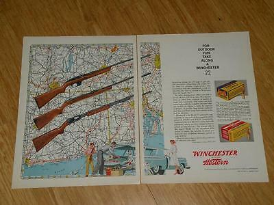 Vintage Magazine Ad - 1959 - Winchester Western - (two pages)- Models 77, 55, 61