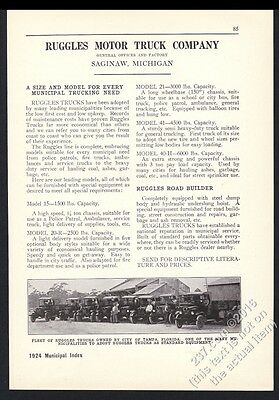 1924 Ruggles Motor Truck Tampa Florida fleet photo vintage trade print ad