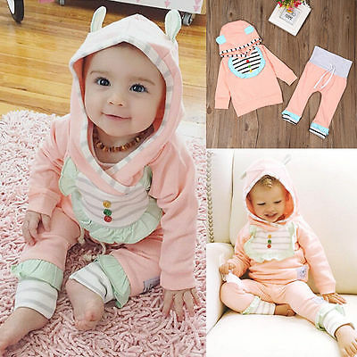 Toddler Kids Baby Girls Outfits Clothes T-shirt Tops Dress+Long Pants 2PCS 0-6M