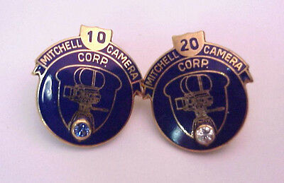 Mitchell Camera Corps 10 and 20 year 10K Gold Empolyee Pins