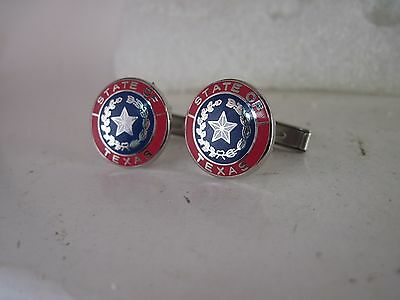 Texas  state    Seal cloisonne   pair cufflinks (4j14  1 )
