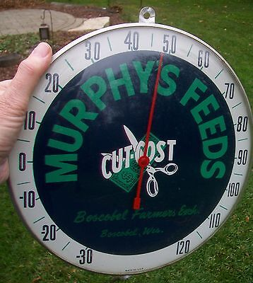 Vintage Murphy's Cut Cost Feeds Farm Thermometer Sign