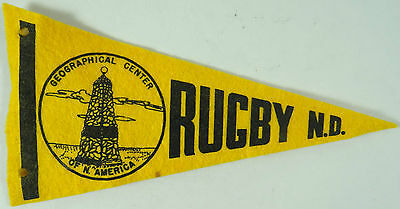Vintage Mini Felt Pennant GEOGRAPHICAL CENTER NORTH AMERICA Rugby ND 1940s 1950s