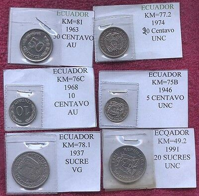 6 Coins From Ecuador All Different