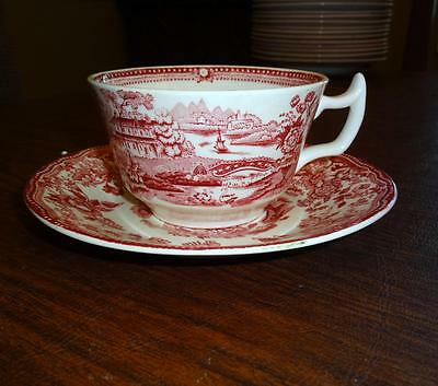 Clarice Cliff Royal Staffordshire China TONQUIN Cup & Saucer Red Asian & Floral