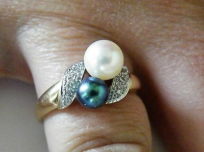 14K Yellow Gold Ring With White & Tahitian Black Pearls & Diamonds Size 10.25