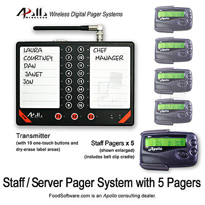 5 Server Pager Restaurant Paging Kit by Apollo