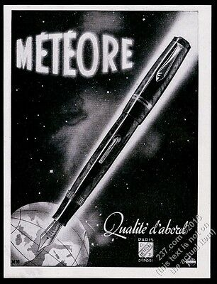 1944 Meteore fountain pen outer space 7 Earth globe art French vintage ad