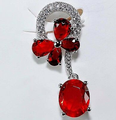 4CT Ruby & White Topaz 925 Solid Genuine Sterling Silver Pendant