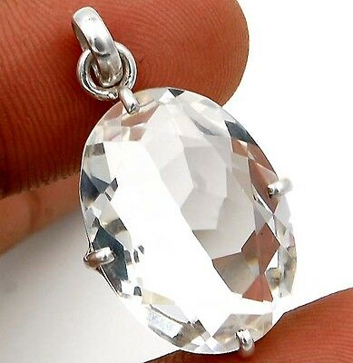 "16CT White Topaz  925 Solid Sterling Silver Pendant 1 1/4"" Long"