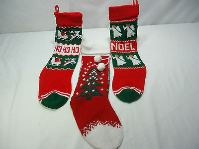 3 Vintage Knit Christmas Stockings Ugly Sweater Style Santa Claus, Angels & Tree