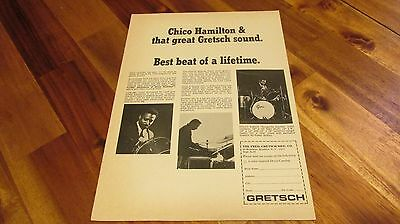 1966 Gretsch Chico Hamilton burgundy sparkle outfit Drum Print Ad