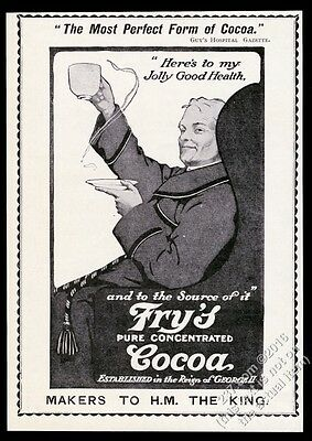 1910 Fry's Cocoa hot chocolate drink man art UK vintage print ad