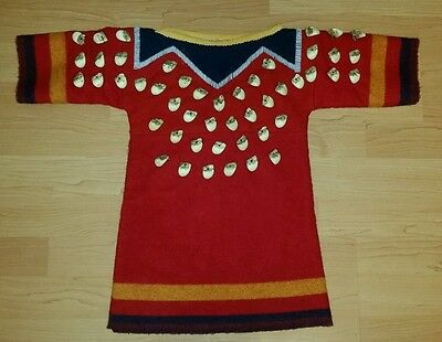 Rare Sioux Indian Faux Elk Tooth Childs Ceremony Dress Hand Sewn Wool & Beadwork
