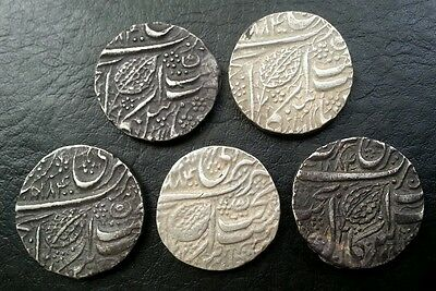 India Sikh Empire 1 Re X 5 Coins 1884 With Different Rev Dat 85, 86, 88, 91 & 95
