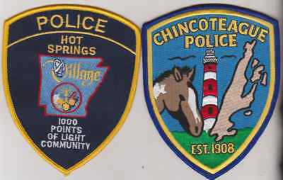 Chincoteague VA  & Hot Springs Village AR Police patches