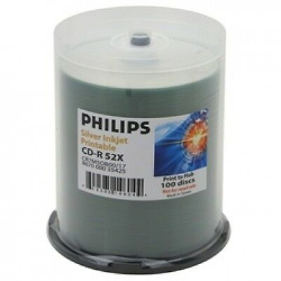 600 Philips 52x CD-R 80min 700MB Silver Inkjet Hub in Cake Box