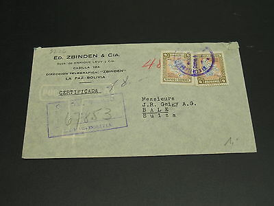 Bolivia 1946 registered airmail cover to Switzerland *9226