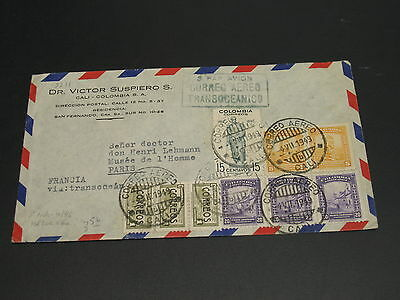 Colombia 1949 airmail cover to France *9211