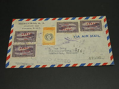 Panama 1950s registered airmail cover to Netherlands *9241