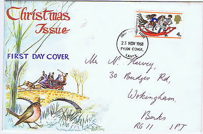 GB 1968 Christmas 4d value only First Day Cover (FDC) Fylde Coast CDS