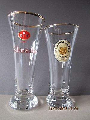 A Pair Of Vintage Belgian Beer Glasses In Excellent Condition