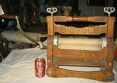 Antique Primitive Americana Country Bicycle Wood Iron Wash Tub Clothes Wringer