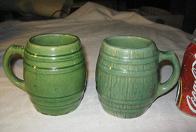 Antique Mccoy Hull Usa Country Kitchen Stoneware Coffee Tea Matte Green Keg Mug