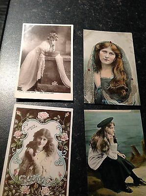 4 Vintage actress PHYLLIS DARE Postcards ( 2 Posted 1906 & 1907)