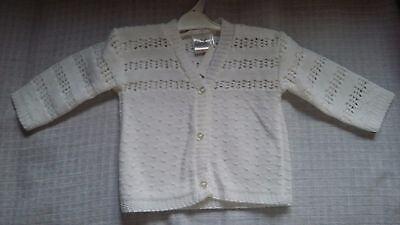 Baby Girls White Cardigan 3-6 Months New