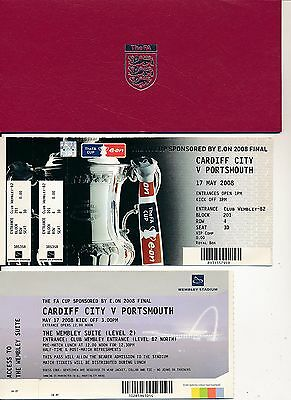 FA CUP FINAL 2008 Cardiff v Portsmouth VIP Ticket + extras