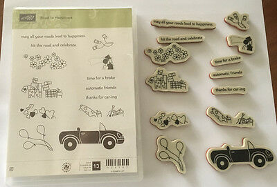 Stampin' Up! Retired Road to Happiness Red Rubber stamp set