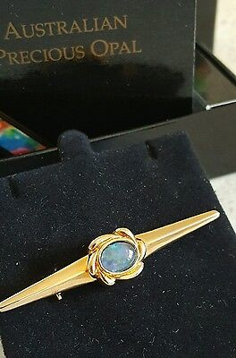 Australian Opal Brooch On Gold Plated Silver Boxed