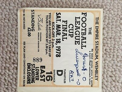 Football ticket for Nottingham Forest v Liverpool FC 1978 League Cup Final!!