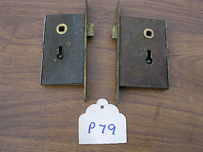 Pair Of Antique Brass & Steel Cabinet Locks