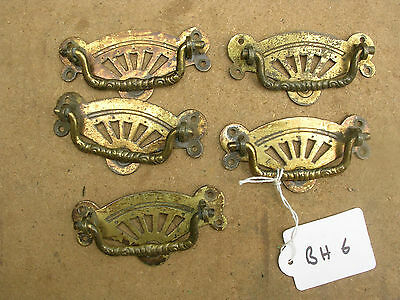 Set Of Five Antique Brass Drawer Handles