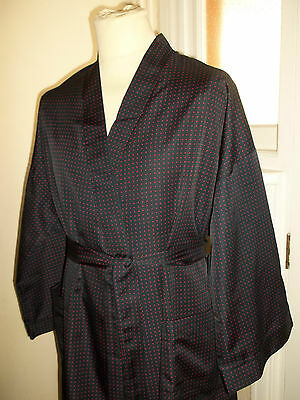 Vtg St Michael Polka Dot Smoking Jacket Dressing Gown Robe to fit Chest 44-46""