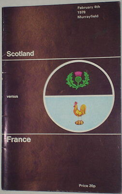 Scotland France Rugby Union Programme 1978