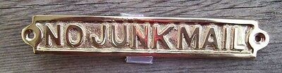 NO JUNK MAIL Solid Brass Sign Plaque Nautical Ship Boat Decor NEW