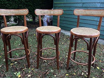 French Cafe Bar Stool Chair Wood X 3 Kitchen