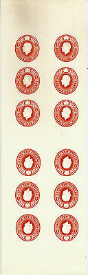 GB KGV 1d TETE-BECHE EMBOSSED IMPRESSIONS x12 ON NEAT WOVEN PAPER PIECE