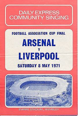 SONGSHEET: FA Cup Final 1971 Liverpool v Arsenal
