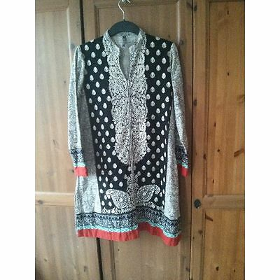 Origins Pakistan Tunic Dress Ethnic Embroidered Black White Red Medium Embroider