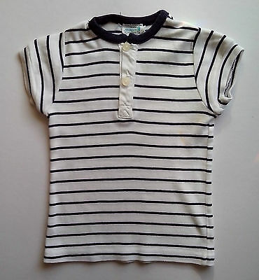 White with blue stripes short sleeve top two buttons fastening Childs Age 2 60s